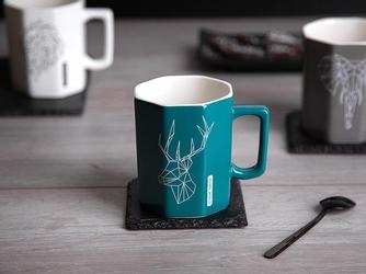Kubek porcelanowy altom design modern ośmiokątny turkusowy dek. jeleń 320 ml