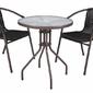 Stół okrągły ogrodowy z miejcen na parasol i 2 krzesła