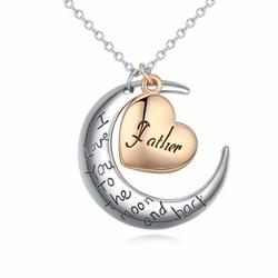 NASZYJNIK na srebrnym łańcuszku FATHER serce - GOLD