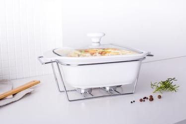 Naczynie żaro  forma do zapiekania z podgrzewaczem ceramiczne kwadratowe altom design mesa 2 l