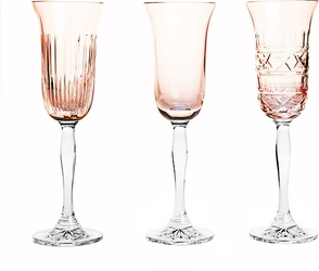 Kieliszki do szampana Veranda 3 szt. różowe