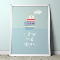 Na morzu - plakat dla dzieci , wymiary - 20cm x 30cm, kolor ramki - biały