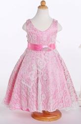Koronkowa biało różowa sukienka dla dziewczynki