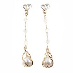 Kolczyki wiszące na łańcuszku perła złote ślubne
