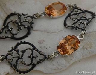 Alosia - srebrna bransoletka z topazem złocistym