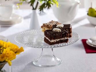 Patera na ciasto i tort  talerz szklany na nóżce edwanex karo 28 cm