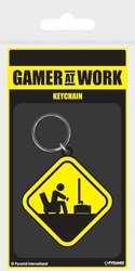 Gamer at work caution sign - brelok