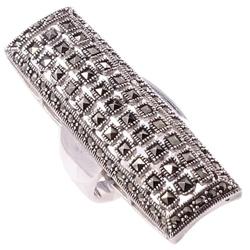 Vang srebrny pierścionek z markazytami, duży