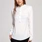 Ecru koszulowa bluzka polo z niską stójką