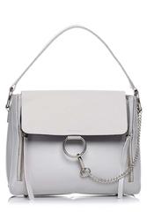Szara elegancka torba listonoszka z metalowym łańcuszkiem