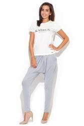 Szare długie spodnie z obniżonym krokiem