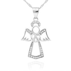 Srebrna zawieszka aniołek z cyrkoniami srebro pr. 925 dedykacja
