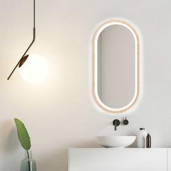 Nowoczesne lustro koria light z oświetleniem led z ramą w kolorze naturalnym