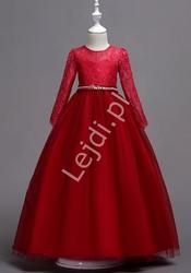 Długa suknia dziecięca w kolorze czerwonego wina 023