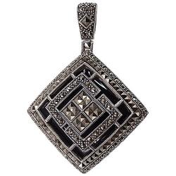 Lima srebrny wisiorek markazyty czarny agat art deco