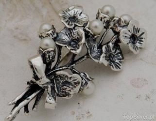 Aster - srebrna broszka z perłami