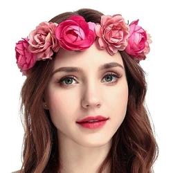 Wianek do włosów kwiaty róże piwonie różowy - różowy matowy