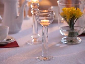 Świecznik szklany na nóżce dekoracyjny na pływające świeczki  tealighty edwanex 26,5 cm