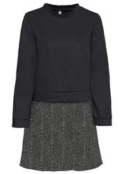 Bluza z wstawką w optyce spódnicy bonprix czarno-biały