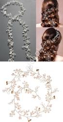 Złota lub srebrna ozdoba do włosów. gałązka z koralikowymi  listkami, perełkami i kryształkami