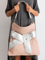 Torebka damska shopper bag z kokardą 001 różowa - łososiowy