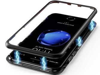 Szklane etui luphie magnetic case do iphone 78 plus czarne - czarny