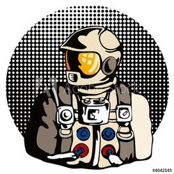Fotoboard na płycie astronauta z kropkami półtonów