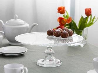 Patera na ciasto i tort  talerz szklany na nóżce edwanex karo 36 cm