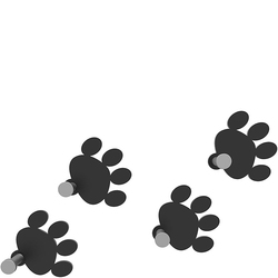 Wieszaki ścienne Cat Footprint CalleaDesign czarne 53-13-2-5