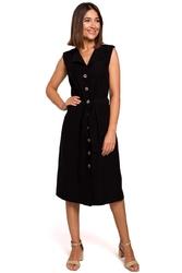 Czarna sukienka midi typu szmizjerka bez rękawów