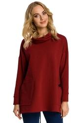 Bordowa bluza z nakładanymi kieszeniami