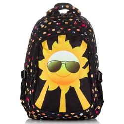 Bardzo pojemny plecak młodzieżowy w emotikonki z dużą emotikonką na froncie słoneczna buźka
