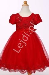 Czerwona tiulowa sukienka w krótki rękawek