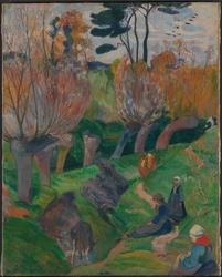 Reprodukcja bretagnelandskap med kuer, gauguin paul