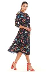 Granatowa Wzorzysta Klasyczna Sukienka z Rękawem 34