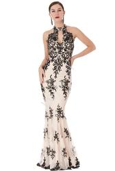 Beżowa seksowna suknia wieczorowa z cekinami i haftem 1387