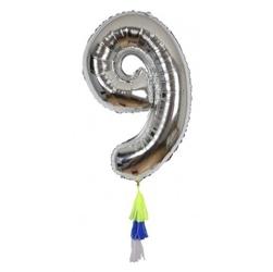 Meri meri – balon cyfra 9 srebrny