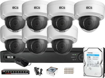 Zestaw monitoringu bcs view rejestrator ip 7x kamera 4k bcs-v-di831ir3