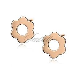 Srebrne kolczyki pr.925 celebrytki kwiatki pozłacane - żółte złoto