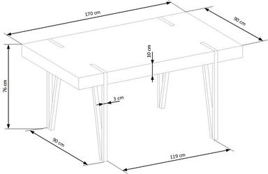 Stół industrialny expo 170x90 cm dąb san remoczarny