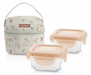 Pojemniki szklane ECO z torbą izotermiczną 2 x 160 ml, Królik, Miniland