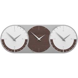 Zegar ścienny - 3 strefy czasowe world clock calleadesign wenge  biały 12-010-89