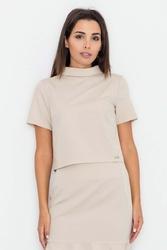 Beżowa bluzka z krótkim rękawem i półgolfem