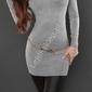 Szara tunika lub sukienka z ozdobną taśmą na plecach | tuniki, 8084