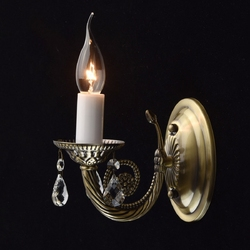 Kinkiet antyczny mosiądz ozdobiony kryształami do sypialni aurora mw-light 371022901