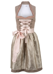 Sukienka ludowa ze stójką bonprix zielonoszaro-beżowy w kropki
