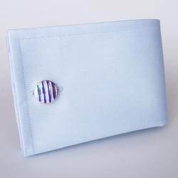 Eleganckie spinki do mankietów okrągłe w różowo niebieskie paski