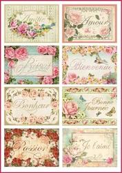 Papier ryżowy Stamperia A4 kwiaty etykiety
