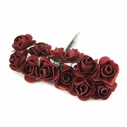 Papierowe róże 2 cm12 szt. - bordowy ciemny - bordowy ciemny