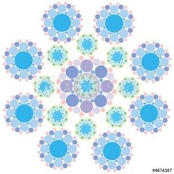 Obraz na płótnie canvas czteroczęściowy tetraptyk turkusowy niebieski i fioletowy kwiat płatka śniegu